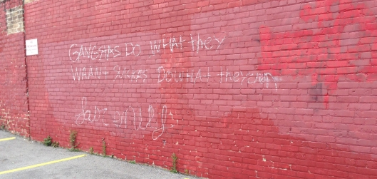 """Words to live by from the streets of New Orleans: """"Gangstas do what they waan + suckas do what they can"""""""